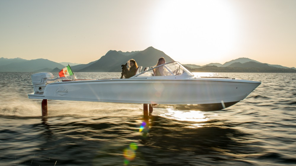 Candela's 25-foot C-7 is an electric boat on retractable hydrofoils with three times the range of a typical electrical boat at a speed of 22 knots