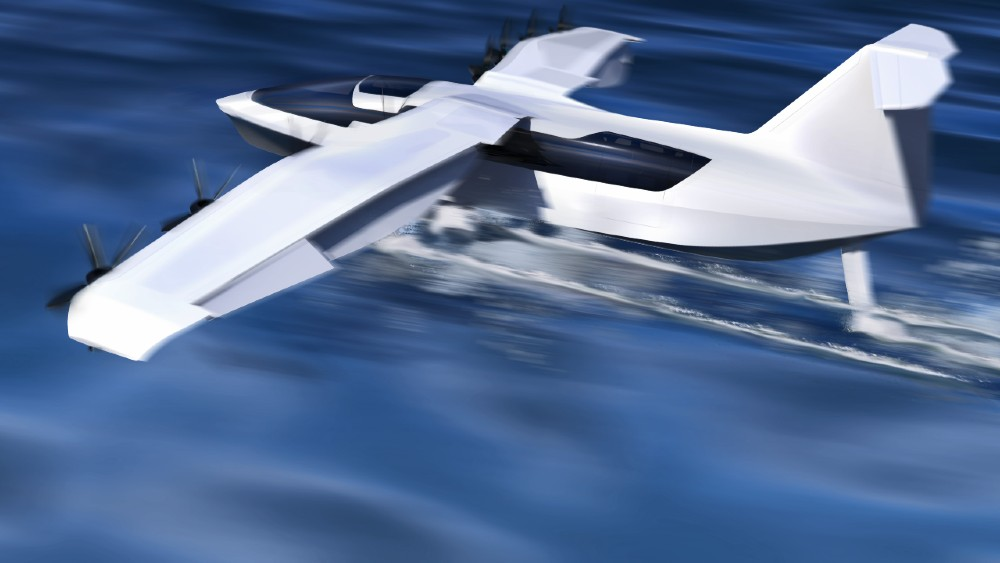 """The Regent seaglider is a new coastal commuter concept that uses """"ground effect,"""" or a cushion of air to ride above the water."""