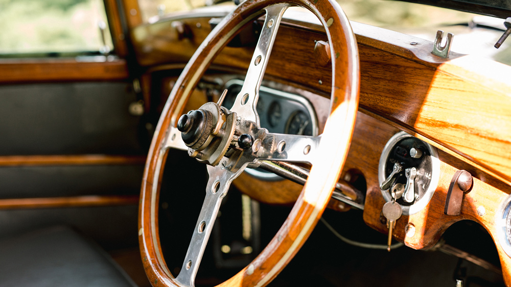 The interior of a 1933 Rolls-Royce 20/25 Shooting Brake.