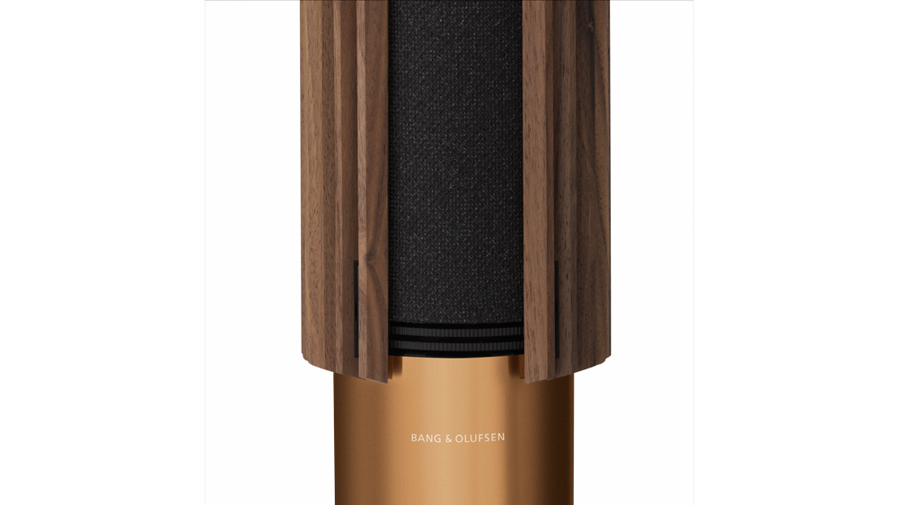 A detail of the Bang & Olufsen Beolab 28 loudspeaker with a wood grille.