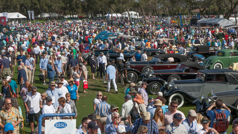 The crowded concours lawn at the Amelia Island Concours d'Elegance.