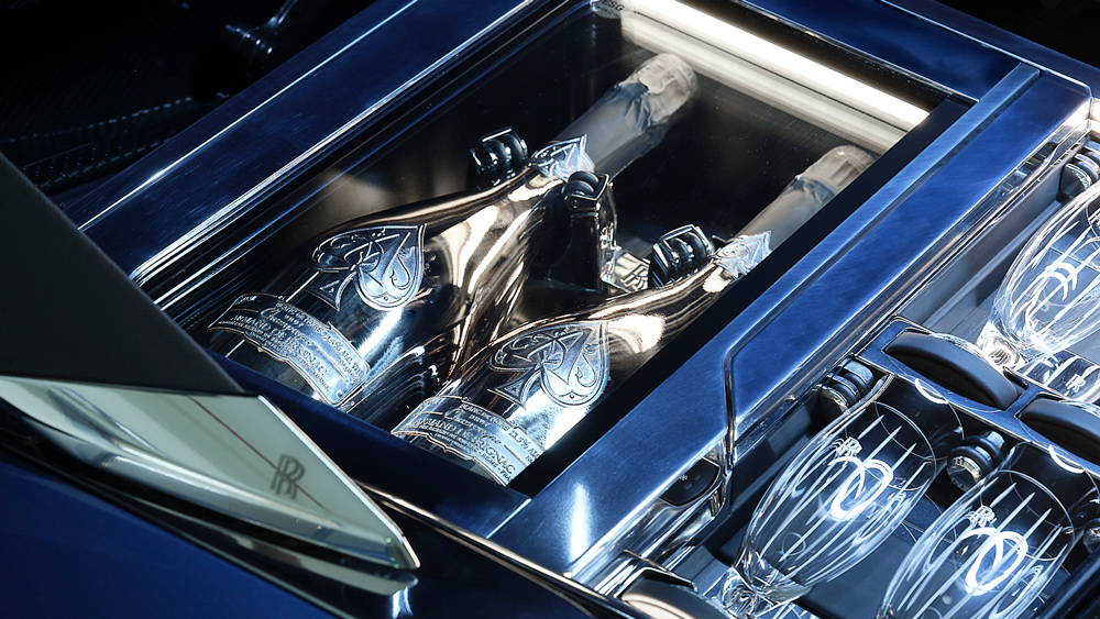 The Rolls-Royce Boat Tail's dual champagne cooler was specifically designed to fit bottles of Armand de Brignac.