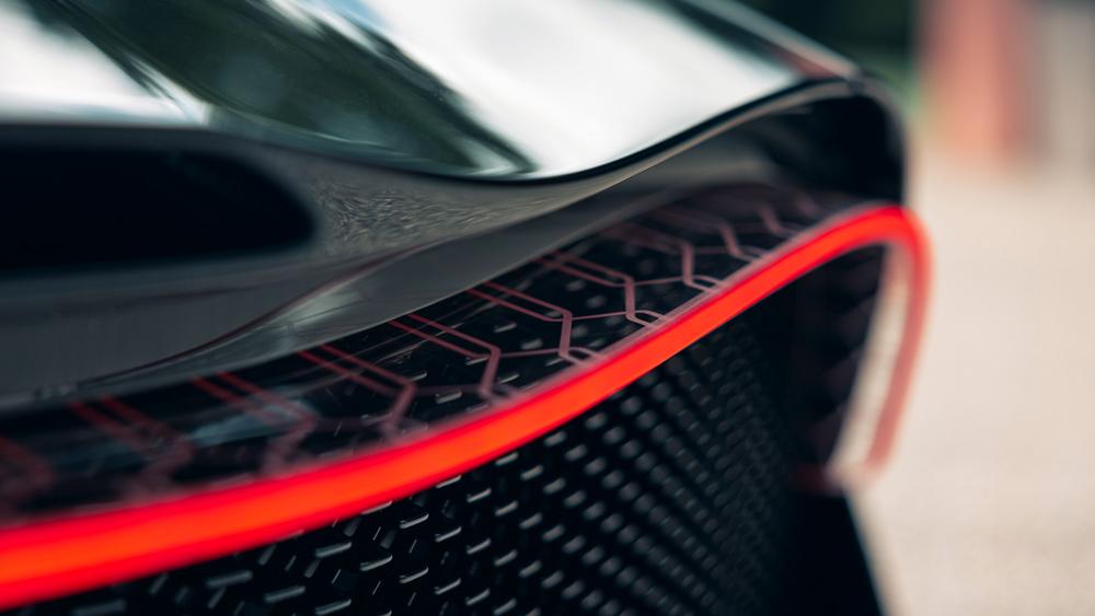 A detail of the back of Bugatti's La Voiture Noire hypercar.