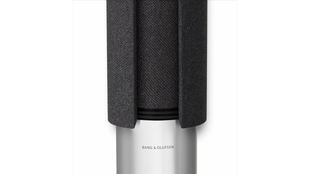 A detail of the Bang & Olufsen Beolab 28 loudspeaker with a fabric grille.