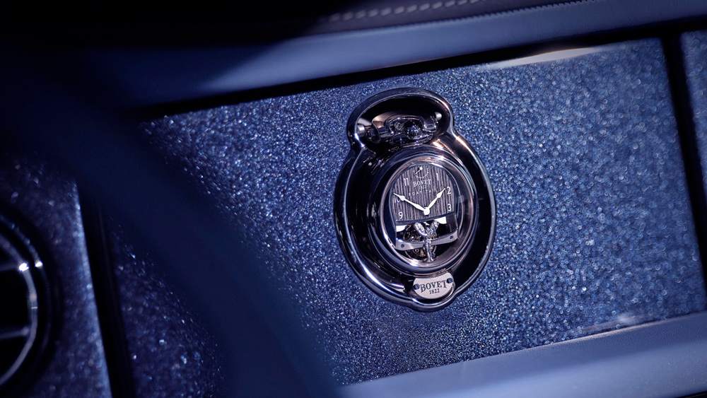 On the dashboard of the Rolls-Royce Boat Tail is a slot to insert one of the two custom Bovet watches made for the owners.