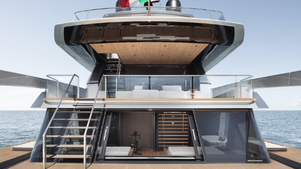 The open transom area of the Sanlorenzo SX112 is an innovative design that allows closer access to the water.