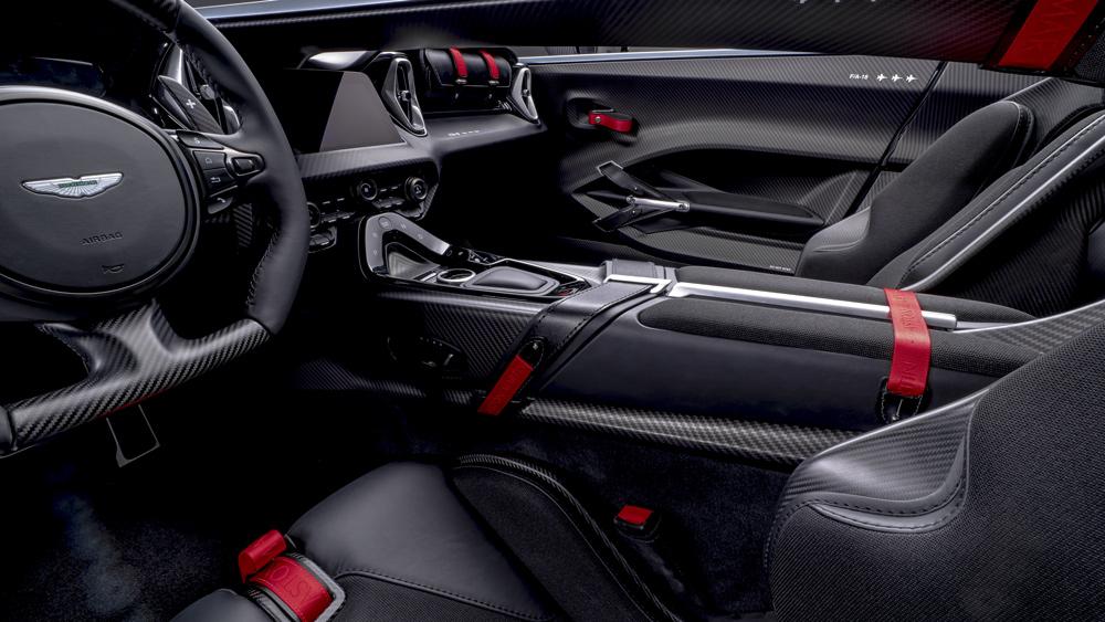The interior of the Aston Martin V12 Speedster.