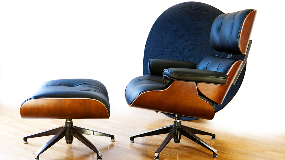 A classic Eames Lounge Chair in leather