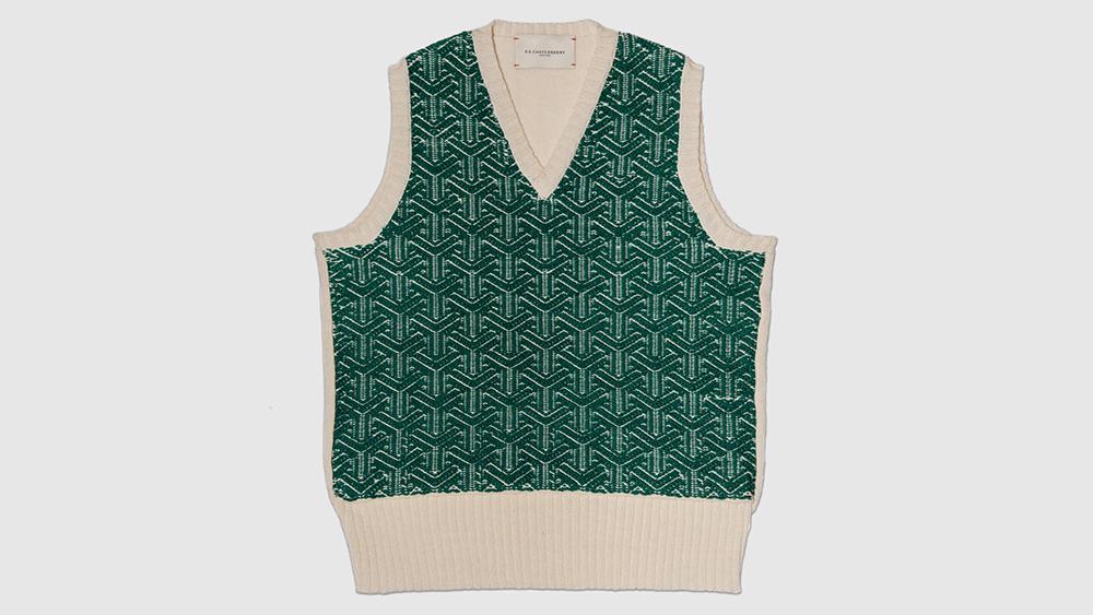 One of F.E. Castleberry's geometric jacquard sweater vests ($590).