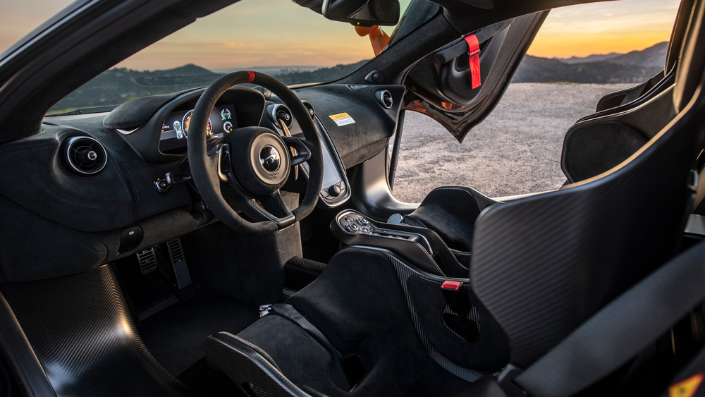 The cockpit of the McLaren 620R.