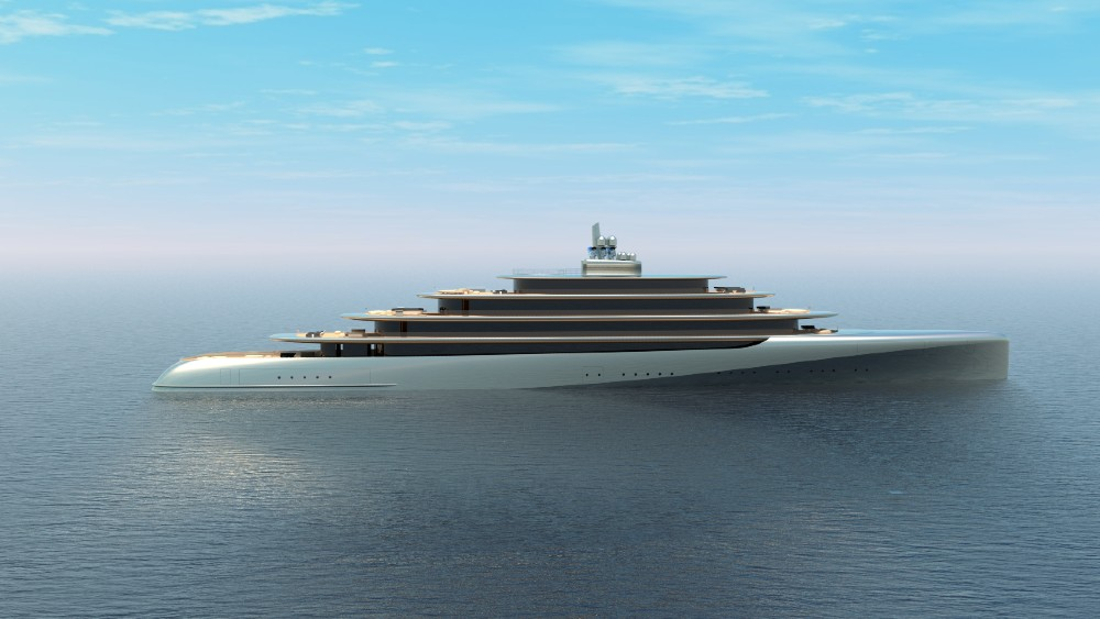 This 415-foot superyacht concept, Pebble, is designed to blend into its surroundings