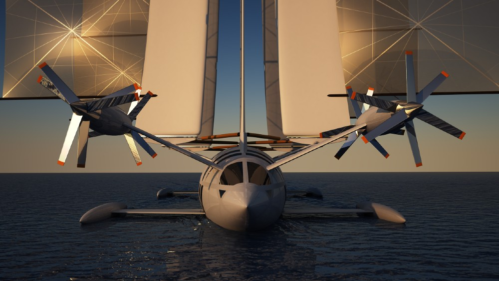 The Flying Yacht Concept moves between a sailing vessel and an airplane