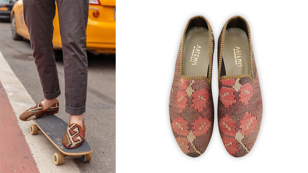 Two pairs of Artemis' kilim loafers.