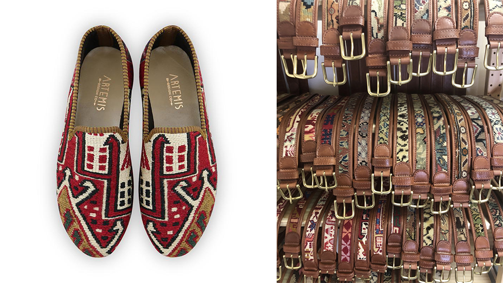 A pair of loafers made from an oriental carpet and a variety of the brand's belts ($168 each).