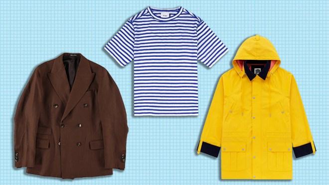 J. Mueser jacket, Drake's T-shirt, Aimé LEon Dore rain jacket