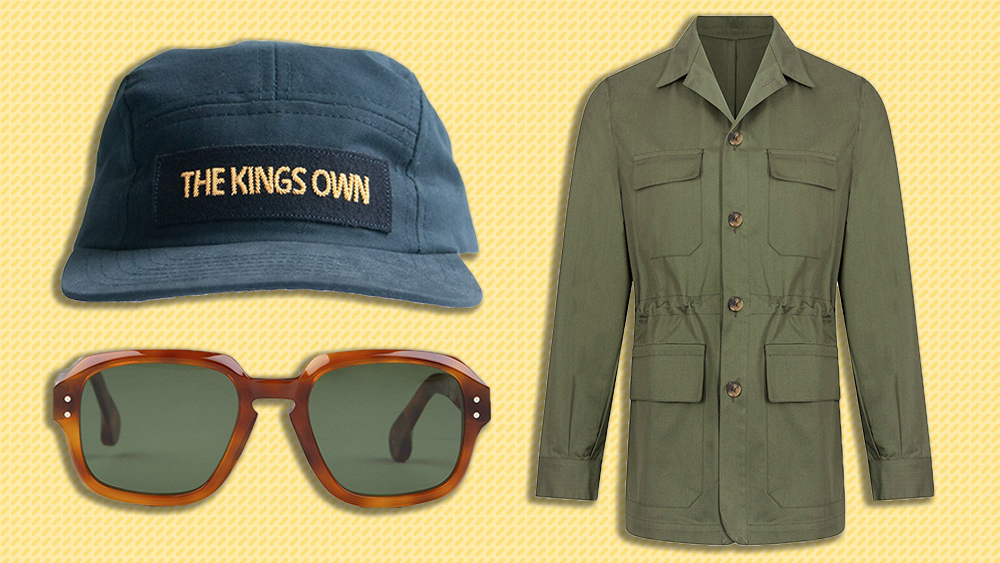 Maker & Co. hat, Cifonelli jacket, Drake's sunglasses