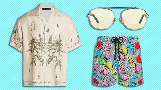 Amiri shirt, Westward Leaning sunglasses, Vilbrequin swim trunks