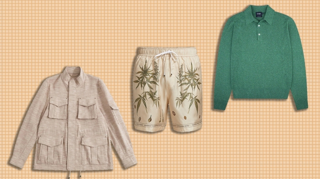 Craftsman silk field jacket, Amiri silk shorts, Drake's silk polo