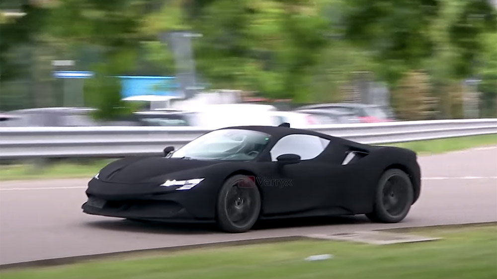 A mysterious Ferrari supercar prototype undergoing testing in Italy