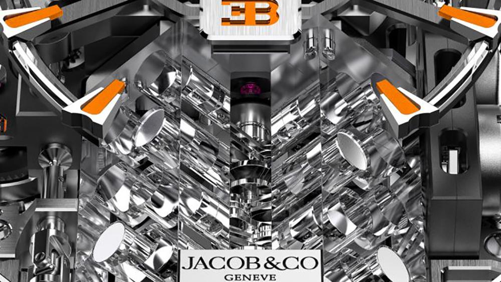 Jacob & Co. Bugatti Chiron Tourbillon Baguette Black and Orange