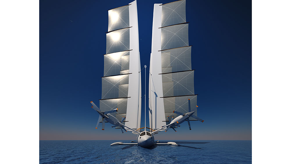 The Flying Yacht Uses both sails and wings to propel itself by air and sea