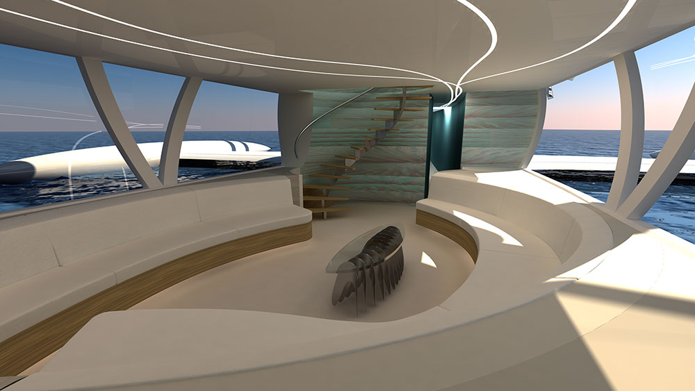 The octuri is a sailing vessel. This is the main-deck interior with lounges