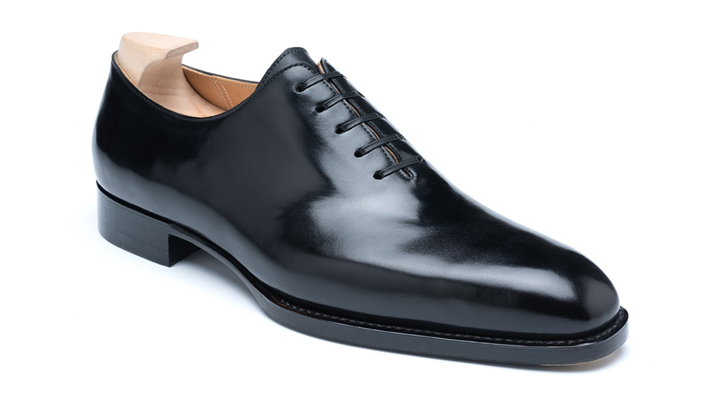 The Andrew model is a sleek whole-cut oxford in box calf (€700).
