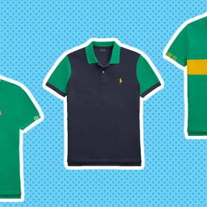 Three variations of Ralph Lauren's made-to-order polo shirt.
