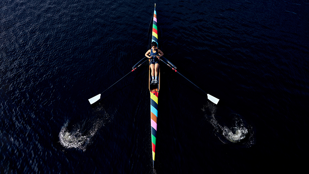 The colorful limited-edition sculler in action.