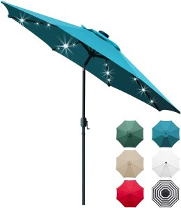 Sunnyglade Solar LED Lighted Patio Umbrella