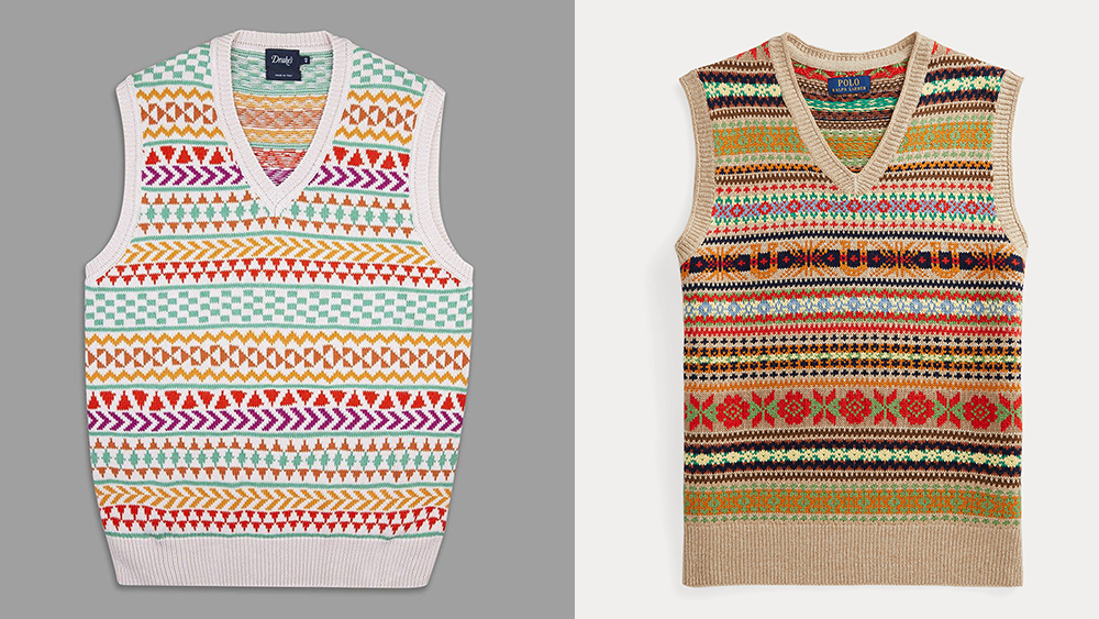 Colorful sweater vests from Drake's and Polo Ralph Lauren ($249.99).