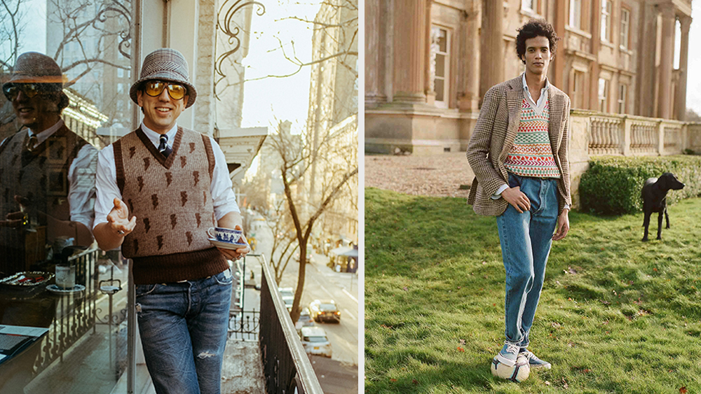 The new generation of novelty sweater vests, as seen in looks from F.E. Castleberry and Drake's.