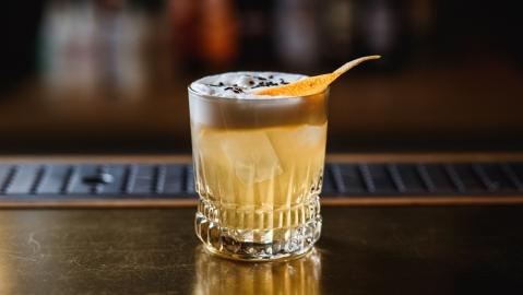 Whiskey Sour Rocks old fashioned glass lemon