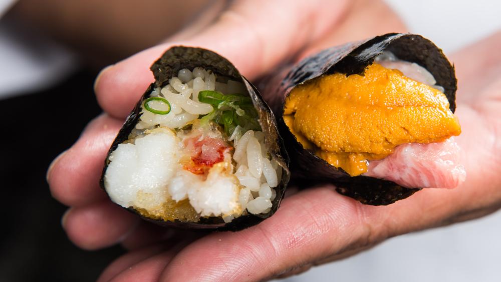sushi hand rolls uni