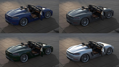 The various color options for the Porsche 718 Spyder 000 Package.