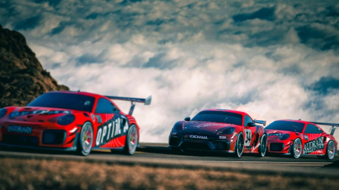 Renderings of the three Porsche entries from BBi Autosport that will be competing in the 2021 Pikes Peak International Hill Climb.
