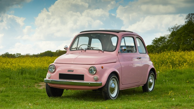 An immaculately restored 1974 Fiat Cinquecento.