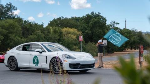 A 2021 Porsche Panamera finishes the 2021 Robb Report California Coastal road rally.
