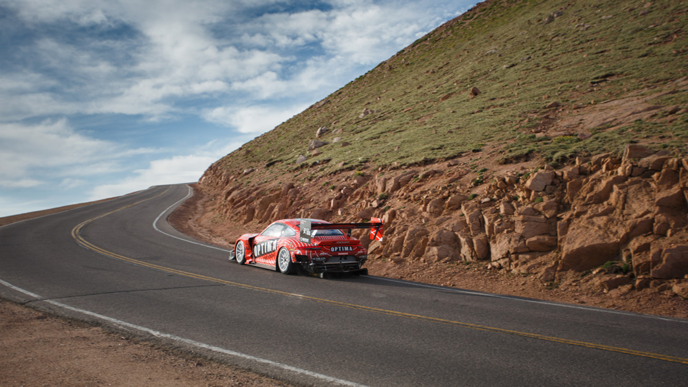 A BBi Autosport entry makes a practice run in preparation for the 2021 Pikes Peak International Hill Climb.