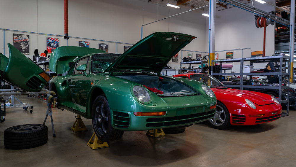 Canepa's reimagined Porsche 959s in the process of transformation.