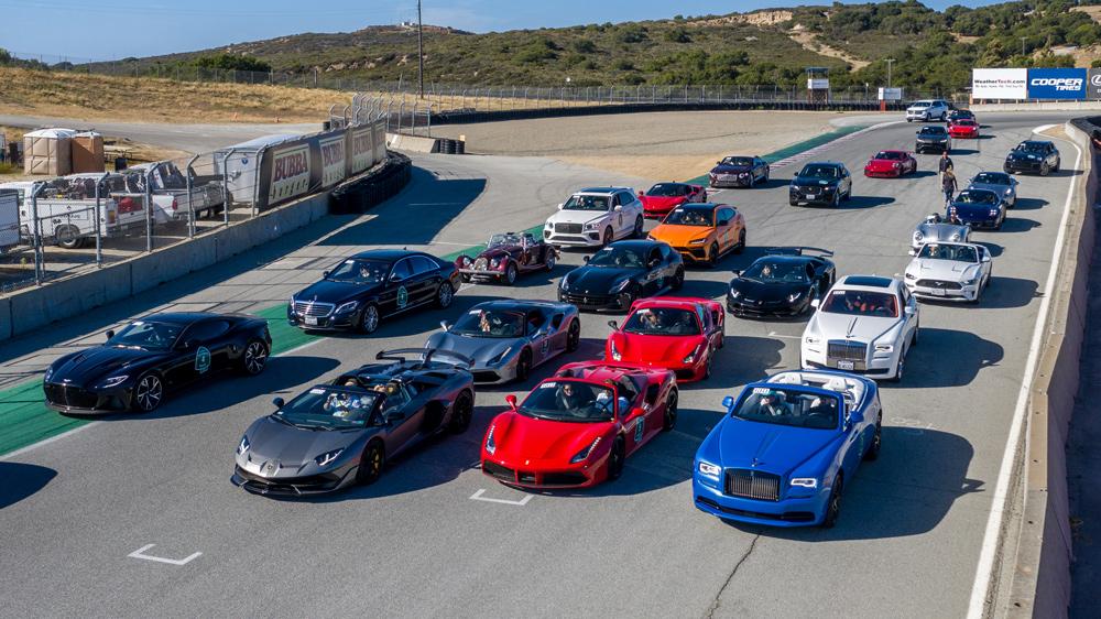 Cars in Robb Report's 2021 California Coastal road rally at Weathertech Raceway Laguna Seca.