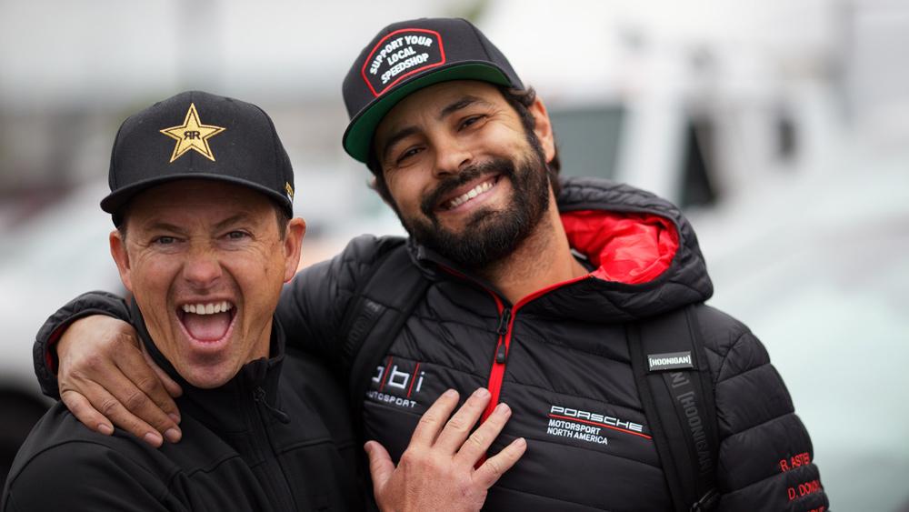 Racer Tanner Foust (left) and BBi Autosport founder Betim Berisha (right).