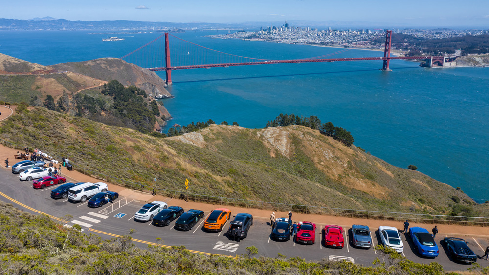 A bird's-eye view of the Golden Gate Bridge and San Francisco from Hawk Hill.