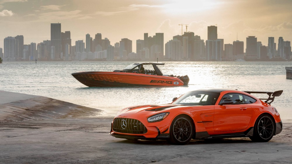 The custom Cigarette Nighthawk is paired with the Mercedes GT Black Series as part of the annual Cigarette-AMG pairing.