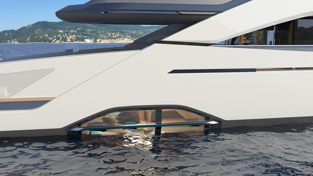 The new Tankoa 165-foot Sportiva has innovative features like a huge transom, waterline window and owner's suite on the main deck.