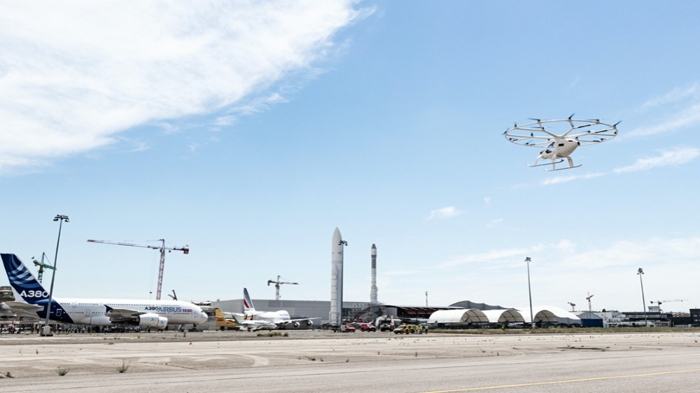 Volocopter flew its electric air taxi for the first time in France yesterday at an air show at the Le Bourget airport