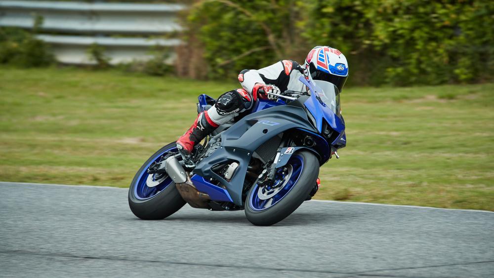 Testing the 2022 Yamaha YZF-R7 motorcycle at the Atlanta Motorsports Park in Georgia.