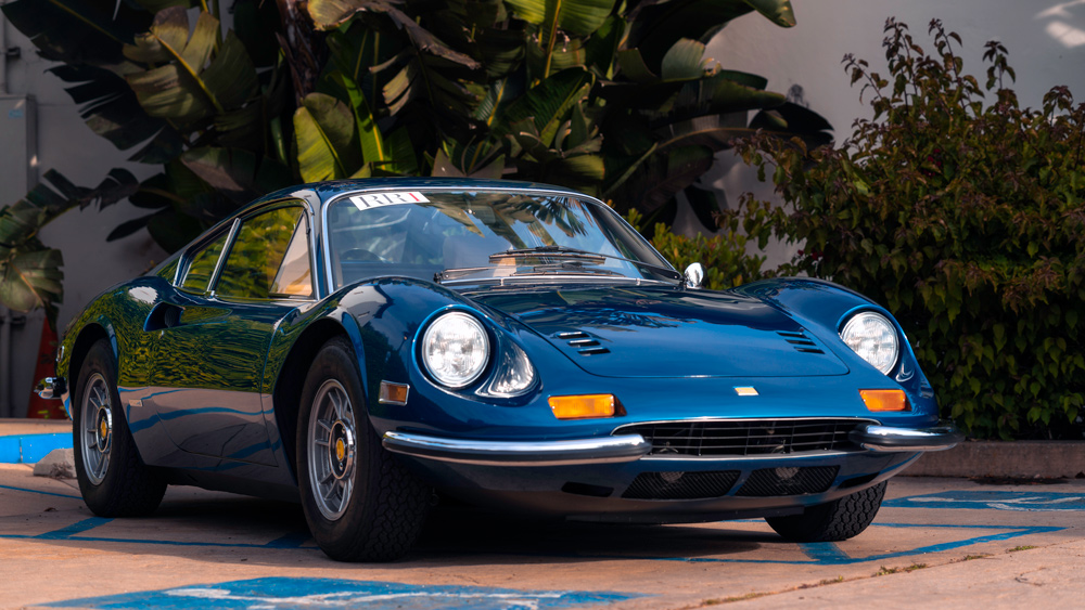 A 1972 Dino 246 GT painted factory-correct Blue Dino Metallizzato.