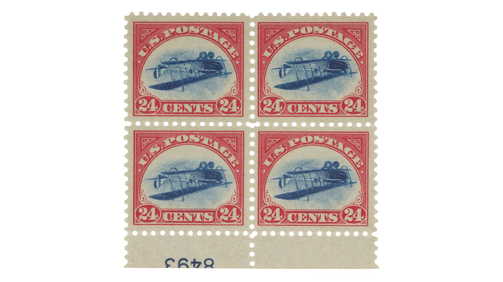 """The """"Inverted Jenny"""" stamp block"""