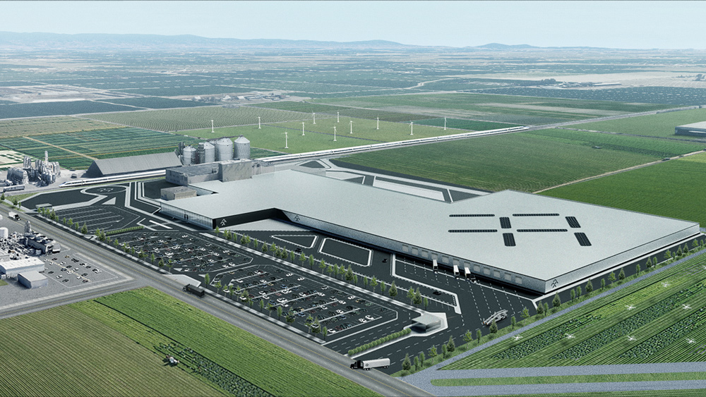 A rendering of what Faraday Future's 1.1 million square-foot plant in Hanford, Calif., will look like when completed.